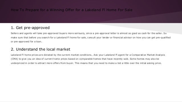 How to prepare for a winning offer for a lakeland fl home for sale Slide 2