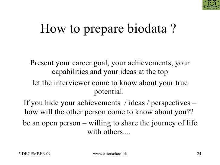 how to prepare biodata