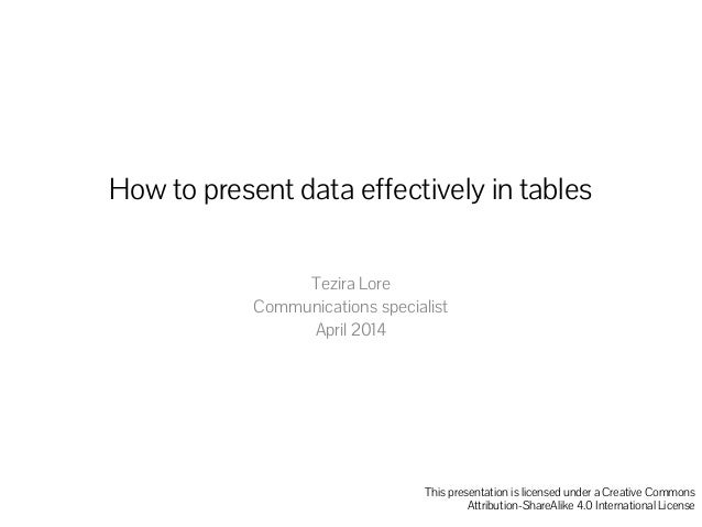 How to present data effectively in tables Tezira Lore Communications specialist April 2014 This presentation is licensed u...