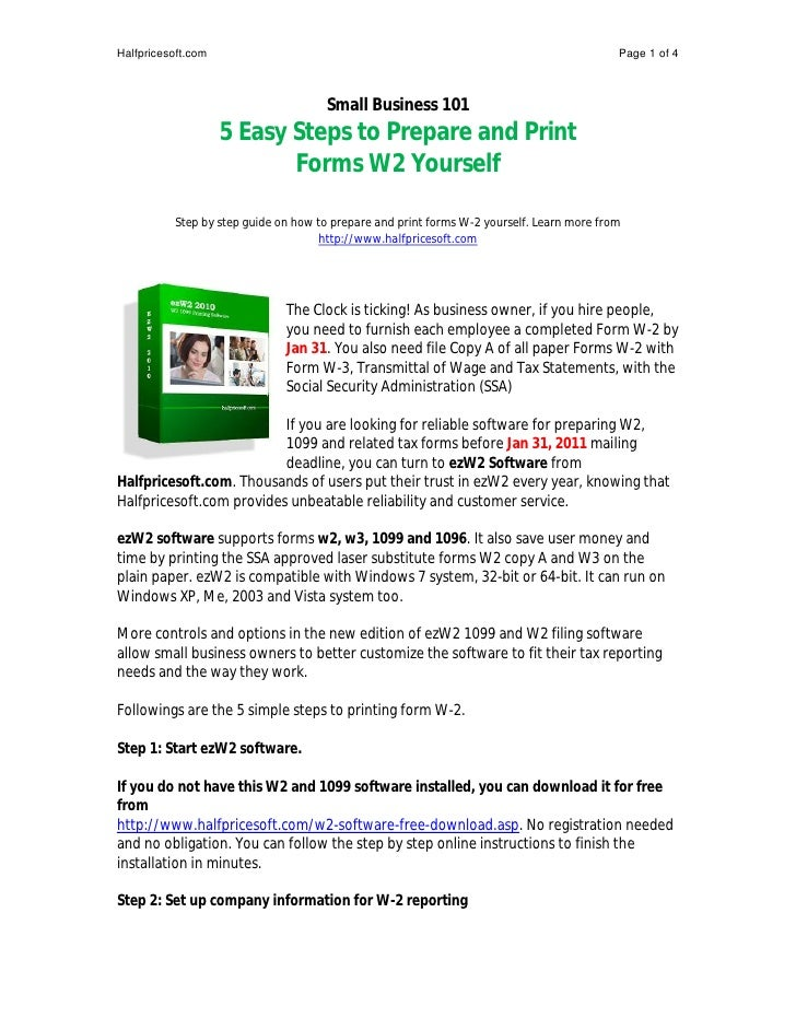 How To Prepare And Print Tax Form W2