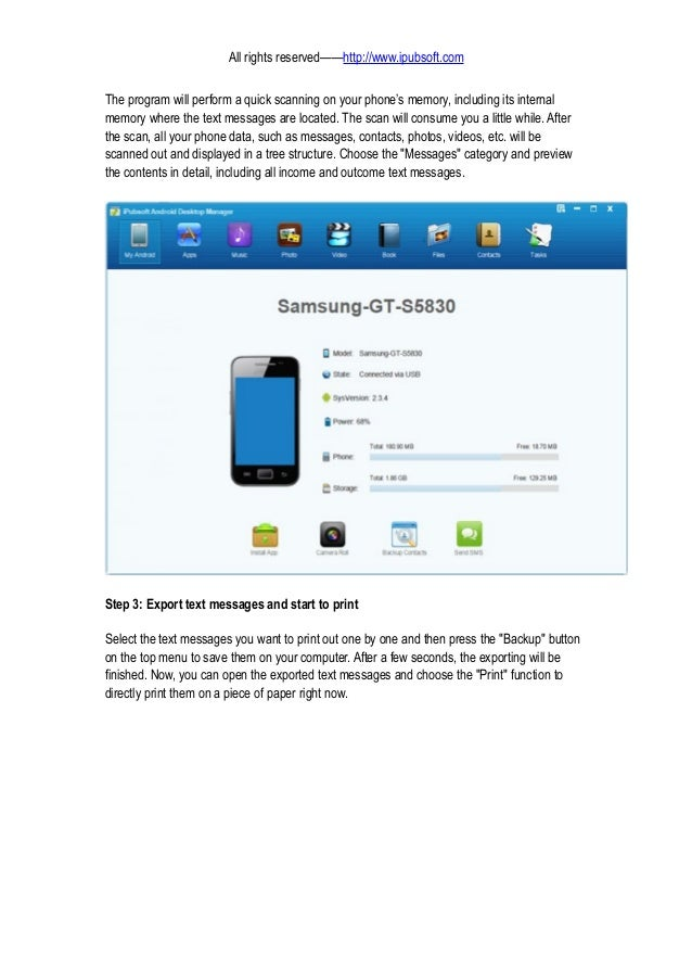 How To Print Text Messages From Samsung Note Galaxy S2 S3 S4