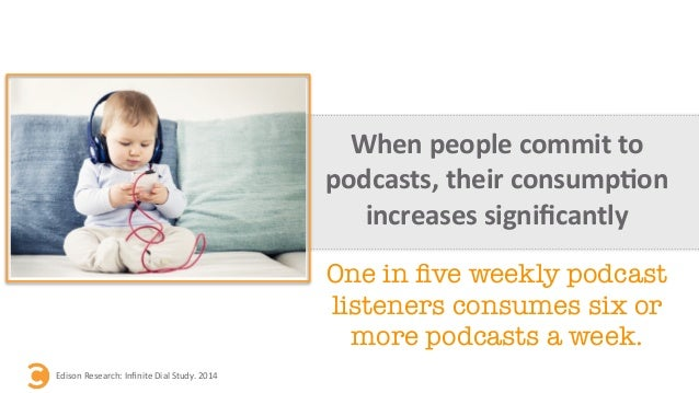When  people  commit  to   podcasts,  their  consump=on   increases  significantly   Edison  Research:...