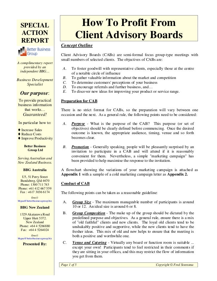 SPECIAL                                  How To Profit From  ACTION                                  Client Advisory Board...