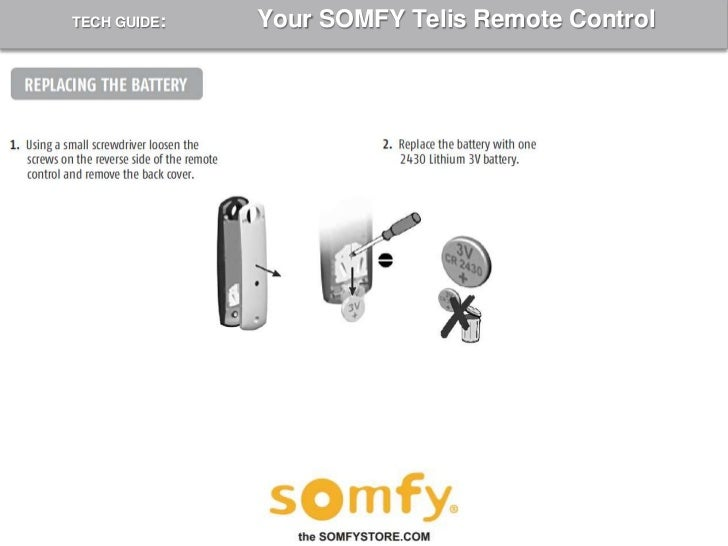 How To Program A Somfy Telis Remote Control 2009