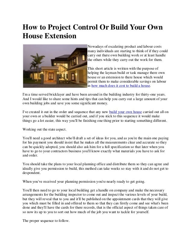 how to project control or build your own house extension