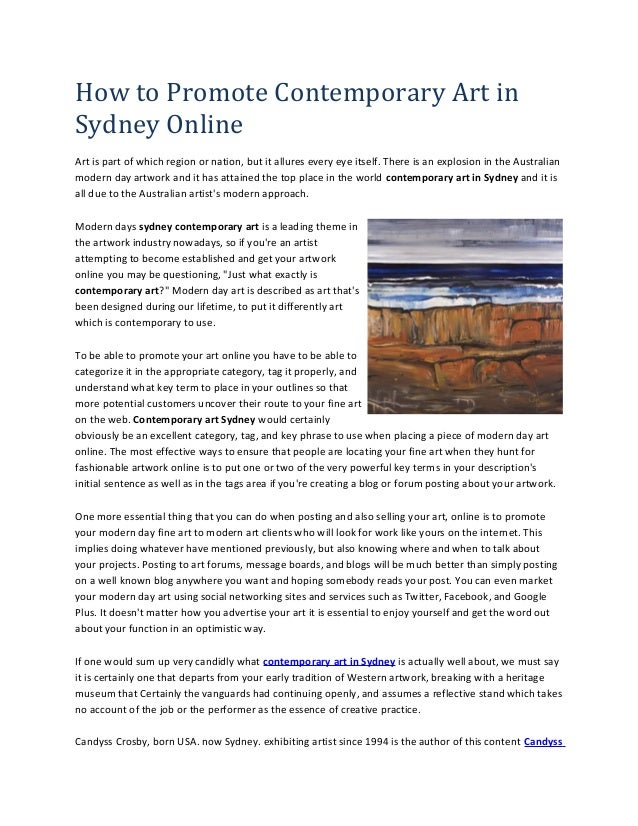 How to Promote Contemporary Art in Sydney Online