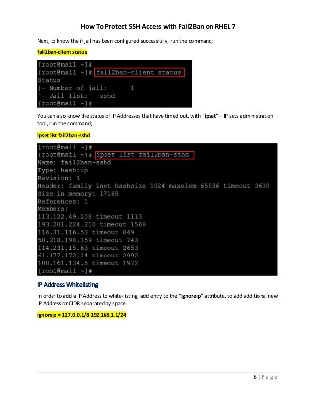 How To Protect SSH Access with Fail2Ban on RHEL 7