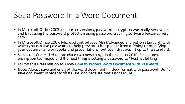 how to change a password on word document