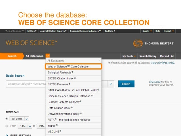 Choose The Database WEB OF SCIENCE CORE COLLECTION
