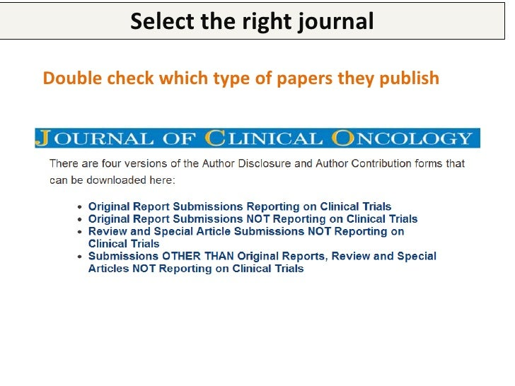 Select the right journal