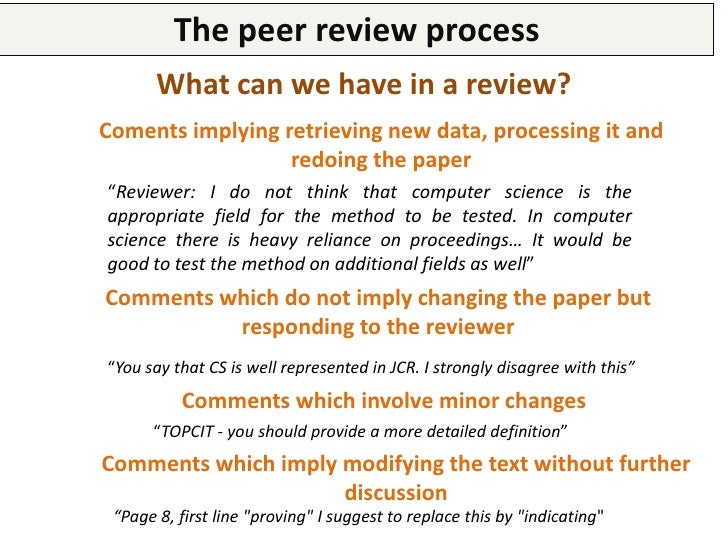 The peer review processExample of a structured response to a review                                 TITULO