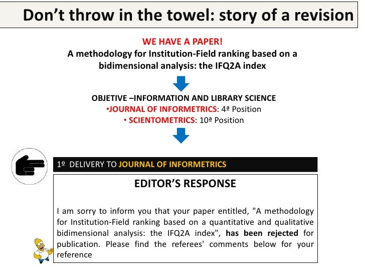 Don't throw in the research paper a revision        Writing a  towel: story of    1º DELIVERY TO JOURNAL OF INFORMETRICS  ...