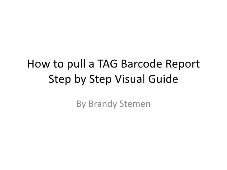 How to pull a TAG Barcode ReportStep by Step Visual Guide<br />By Brandy Stemen<br />