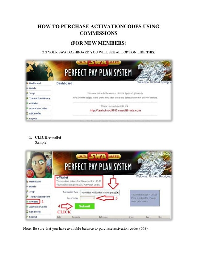 HOW TO PURCHASE ACTIVATIONCODES USING                     COMMISSIONS                              (FOR NEW MEMBERS)      ...