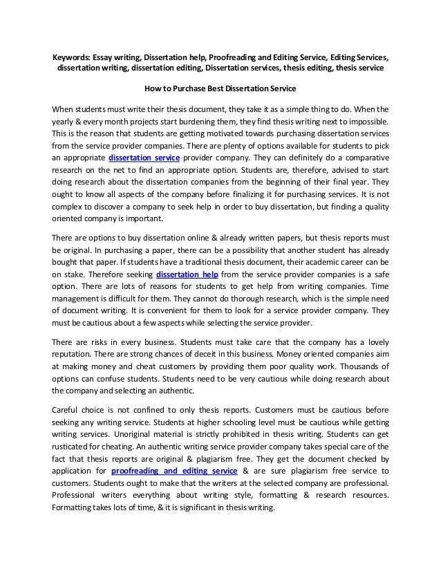 Buy a dissertation online editing