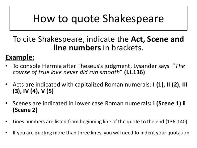 citing shakespeare in an essay