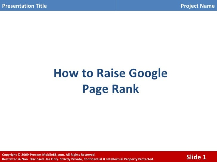 How to Raise Google  Page Rank