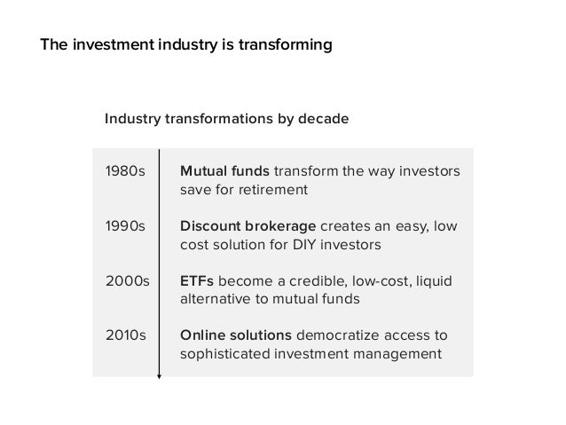 1980s Mutual funds transform the way investors save for retirement Industry transformations by decade 1990s 2000s 2010s Di...