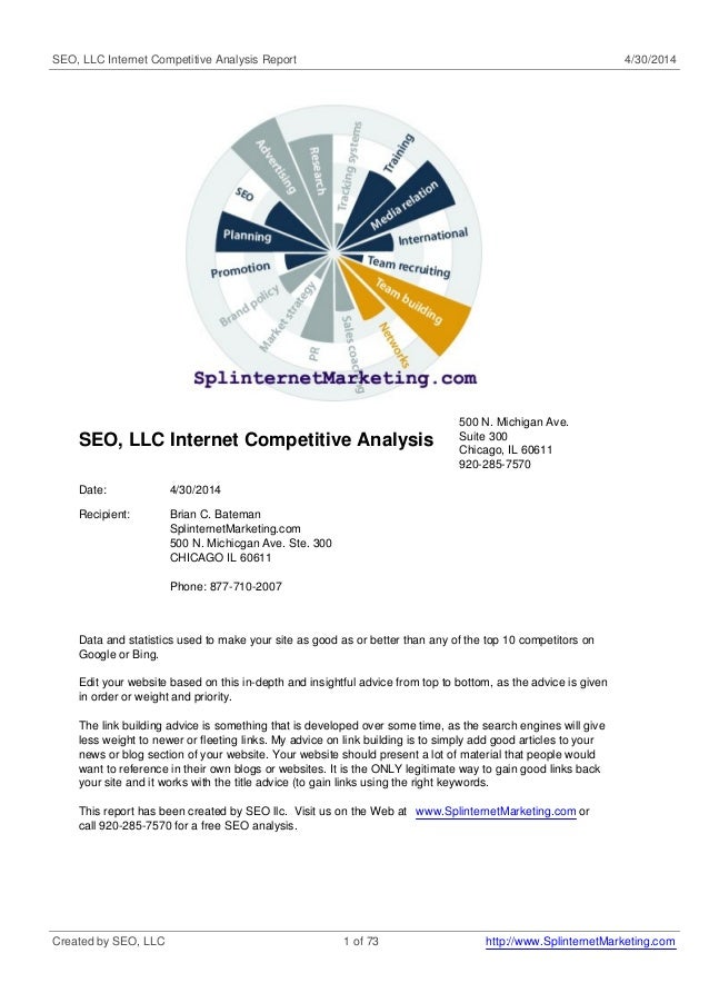 SEO, LLC Internet Competitive Analysis Report 4/30/2014 SEO, LLC Internet Competitive Analysis 500 N. Michigan Ave. Suite ...