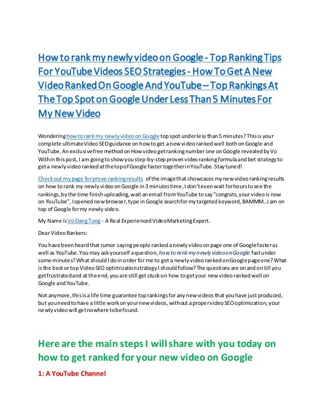 How torank my newly videoon Google- TopRankingTips For YouTubeVideos SEOStrategies- HowToGet A New VideoRankedOnGoogleAndY...