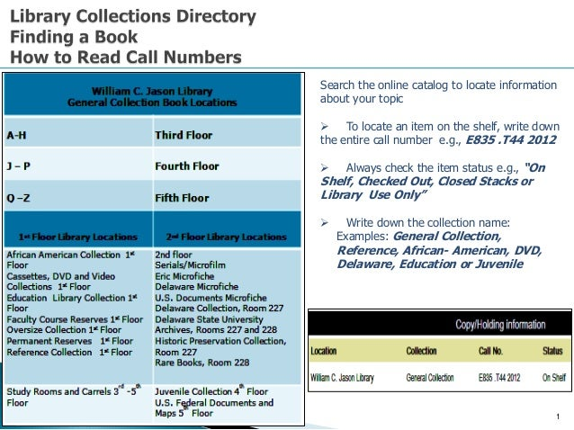1 Search the online catalog to locate information about your topic  To locate an item on the shelf, write down the entire...