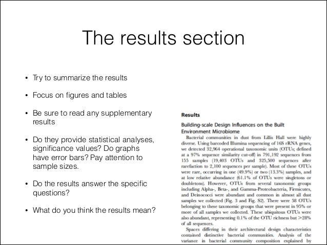 Scientific research paper results section
