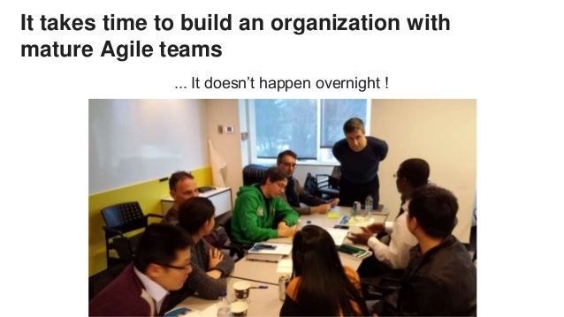 It takes time to build an organization with mature Agile teams ... It doesn't happen overnight !
