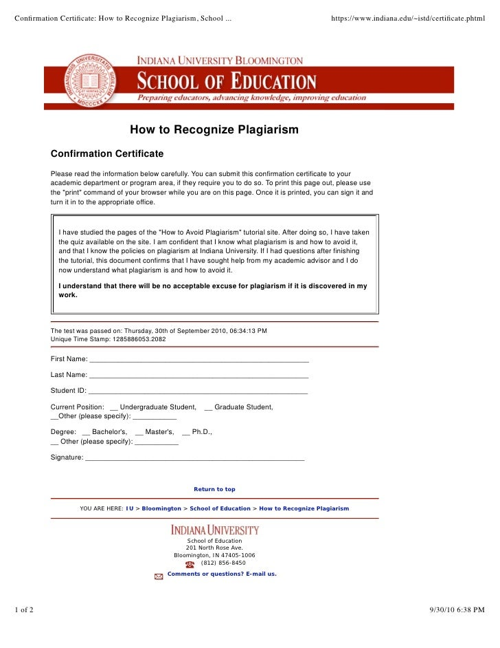 indiana university plagiarism test certificate answers How to recognize plagiarism school of education indiana university…