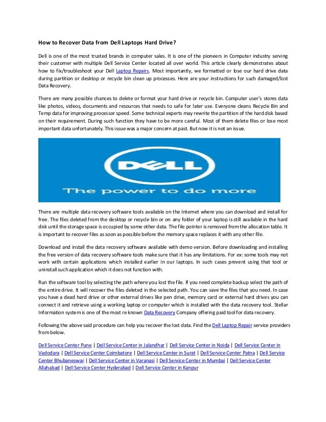 how to recover your dell laptop