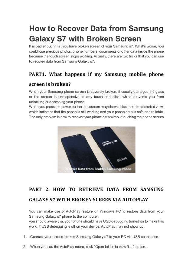 How to recover data from samsung galaxy s7 with broken screen