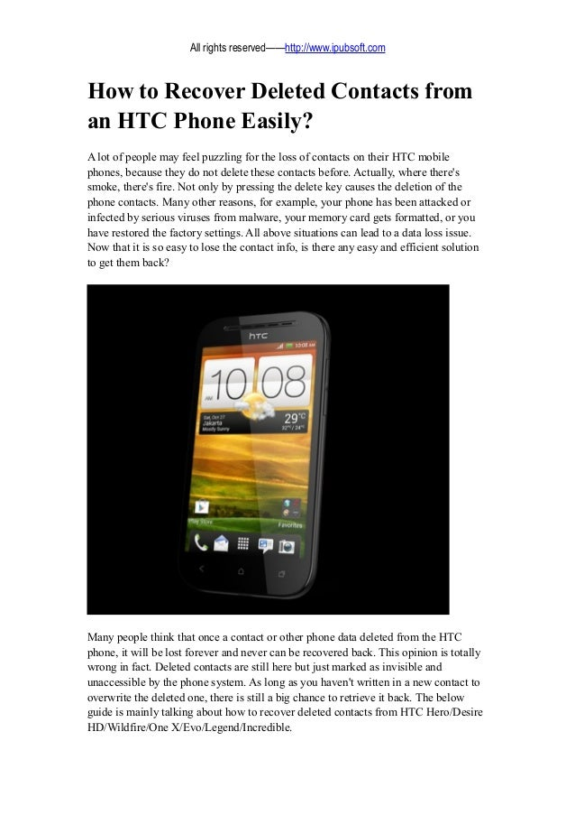 how to delete contacts on htc phone