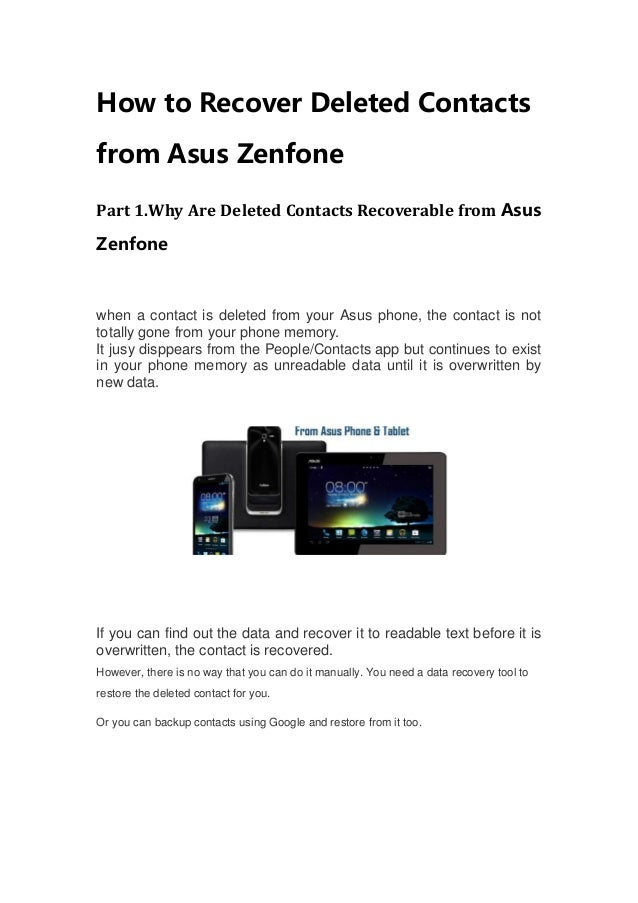 How To Recover Deleted Contacts From Asus Zenfone