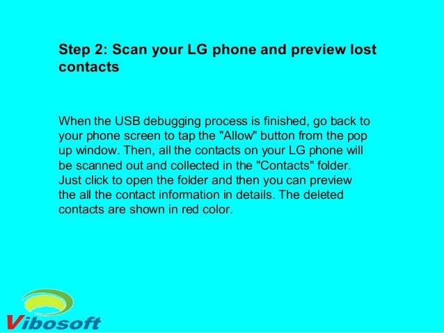 Step 3: Ready to perform the LG contacts recovery Mark the contacts you want to recover. If everything is ok, you can imme...