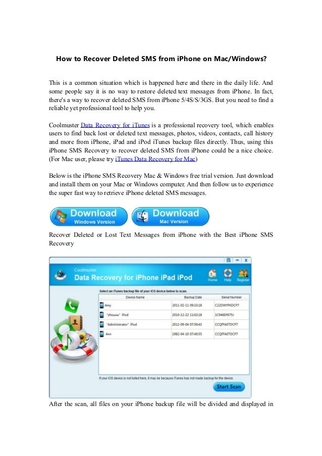 Free Text Message Recovery