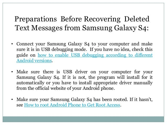 how to get deleted messages from samsung galaxy s4