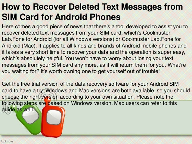How to recover deleted text messages from sim card for