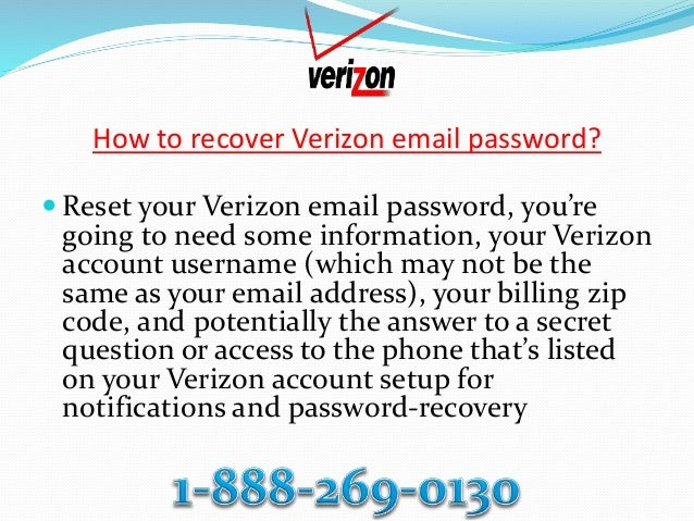How to recover verizon email password