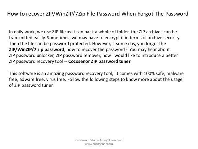 How to recover zip password when forgot the password