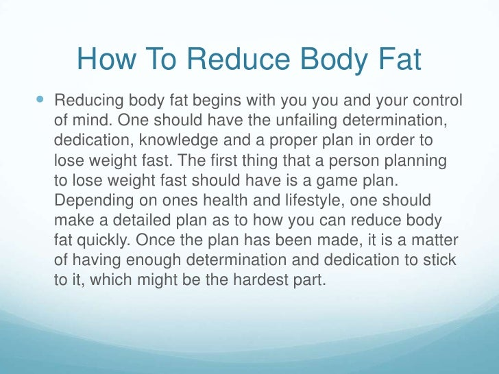 how to reduce fat from body quickly