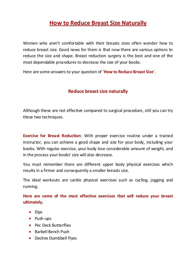 How to Reduce Breast Size Naturally Women who aren't comfortable with their  breasts sizes ...
