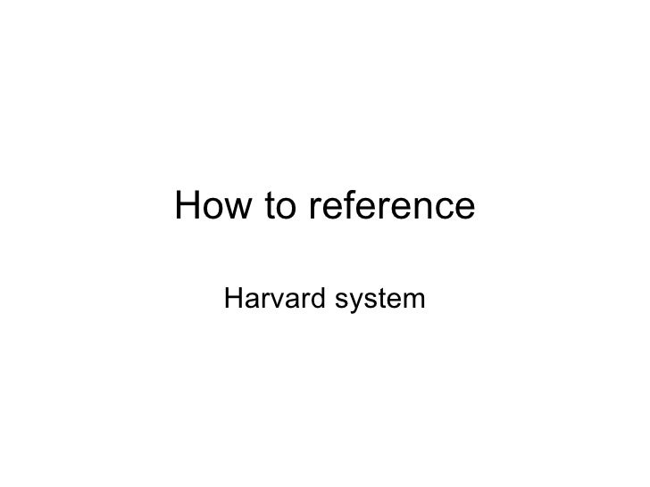 How to reference Harvard system