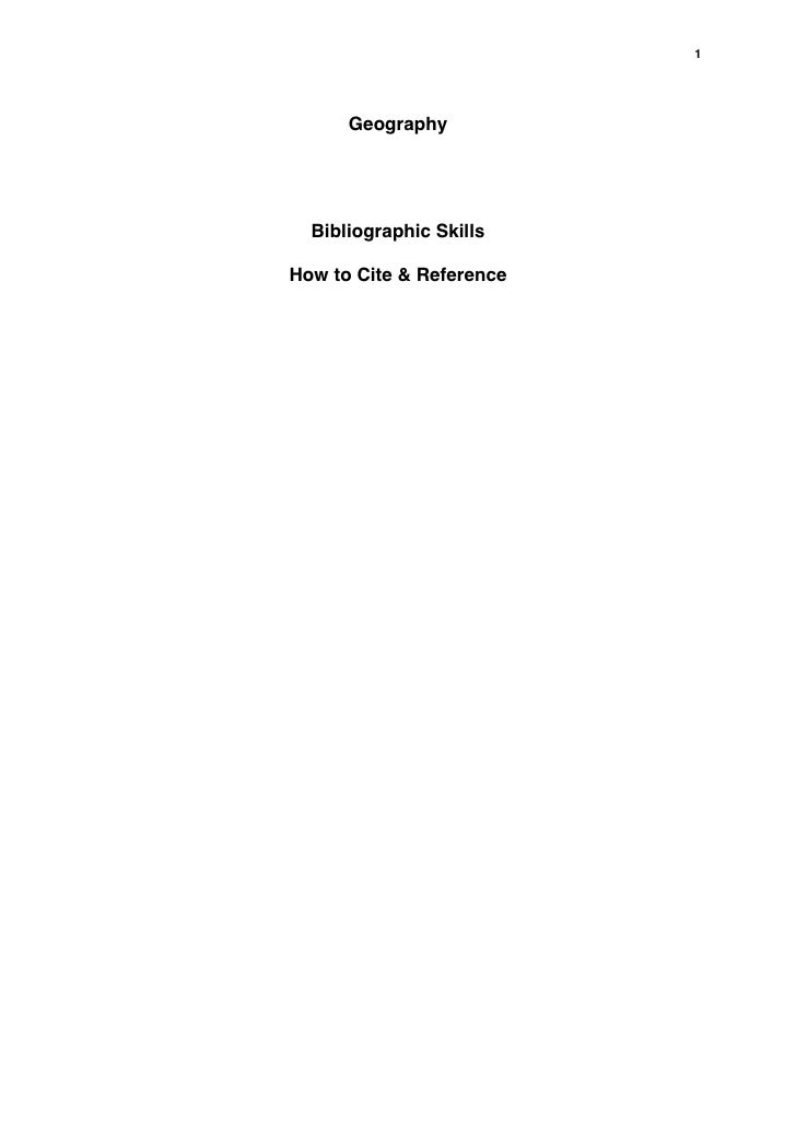 1      Geography  Bibliographic SkillsHow to Cite & Reference