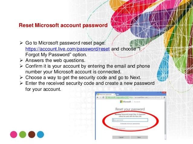 microsoft password reset code page