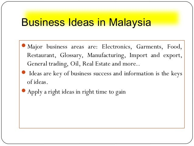 Business Ideas In Malaysia