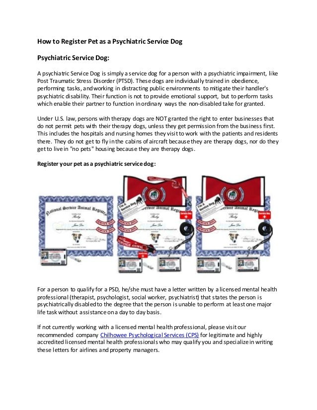 How To Register A Service Dog >> How To Register Pet As A Psychiatric Service Dog