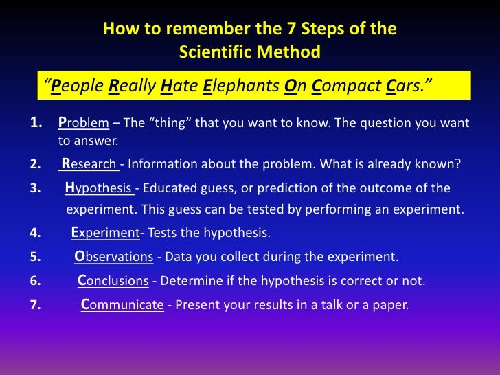 How to remember the 7 steps of the scientific method