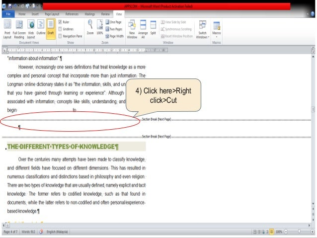 microsoft word remove blank page
