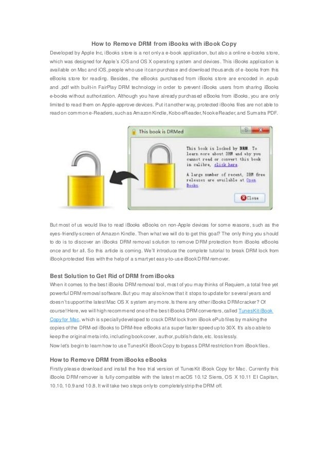 How to remove drm from i books with ibook copy