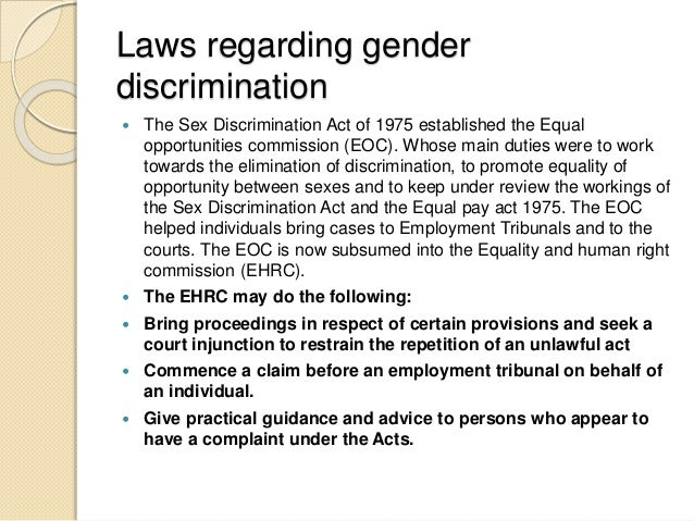 sex discrimination act 1975 Other articles where sex discrimination act is discussed: united kingdom: family and gender:however for example, despite the sex discrimination act of 1975.