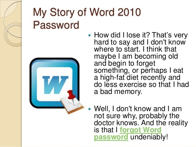 remove word password forgot